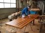 Egetræsbord med mahognilister