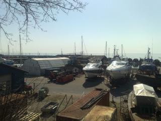 Sunseeker motorbåde på land hos bedding.dk