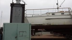 Bedding i Rødvig, 25 meter lang træbåd på bedding 02